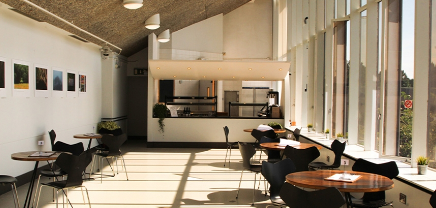 A photo of the back seating area of the cafe, with tables and chairs, in front of the food counter