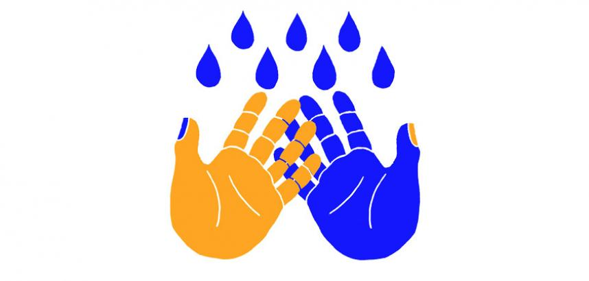 A drawing of two colourful hands - one yellow with blue nails, the other blue with yellow nails, and blue drops of water.