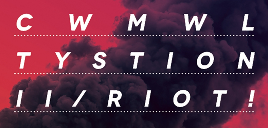Poster for Cwmwl Tystion II/Riot! showing black smoke against a red sky