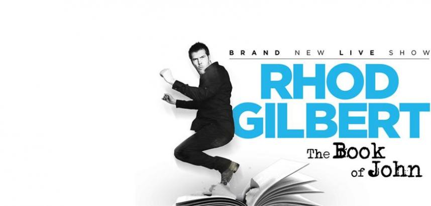 A promotional image of the show, with a black and white image of Rhod Gilbert seeming to leap into the air above an open book.