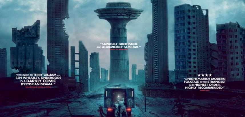 A broken futuristic tower with the title above it