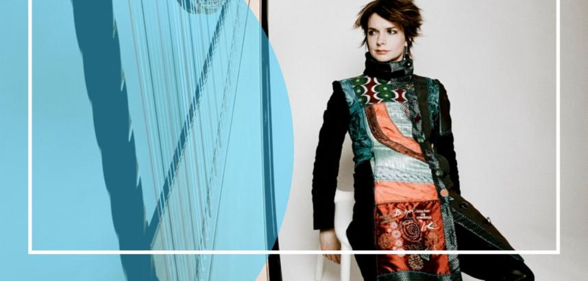 Image showing Catrin Finch and a stylised picture of a harp