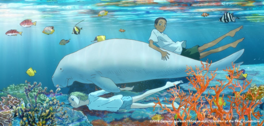 A girl and a boy swim in the sea by a dugong in Children of the Sea