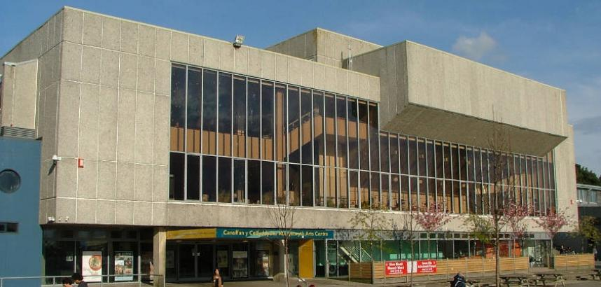 A wide view of the front of the Arts Centre building.