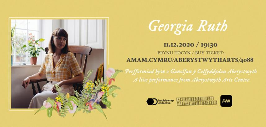 An image of Georgia, sitting in a chair by a window, on a light yellow background and with a decorative flower graphic. There is also information about the gig (as listed on this page).
