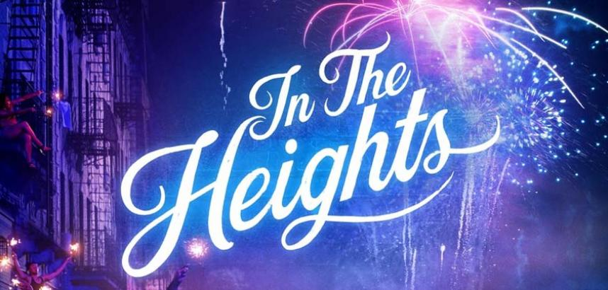 In The Heights is written in lights in a sky full of fireworks