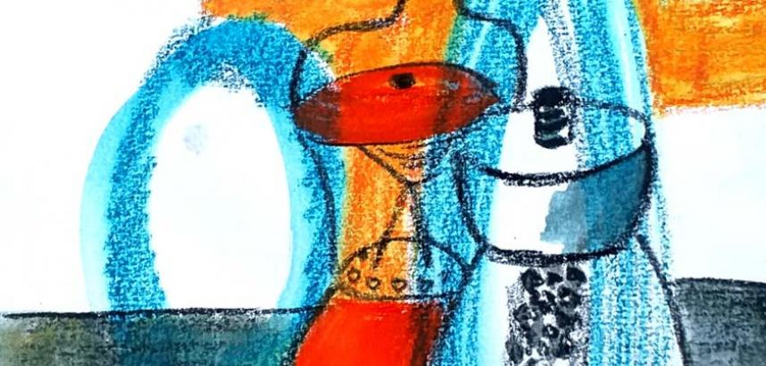 A close-up of a sketch in shades of blue, red and orange, and strong black outlines.