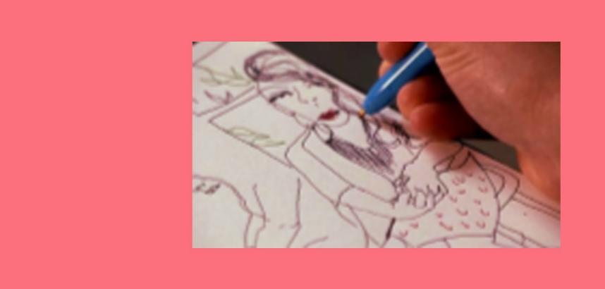 A close up of a sketch of a figure with red lips. | Llun agos o fraslun o ffigwr gyda gwefusau coch.