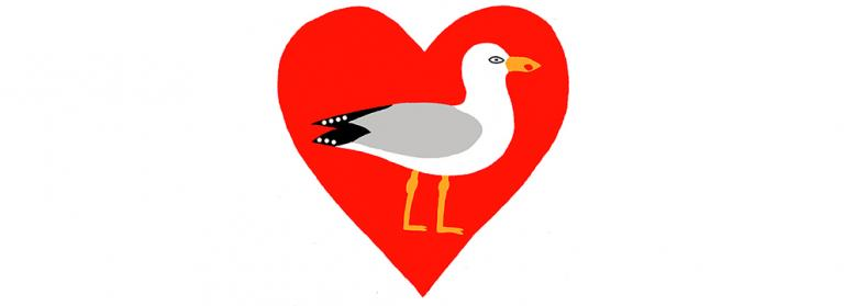 Image by the artist David Jones showing a print of a red heart with a seagull in the middle