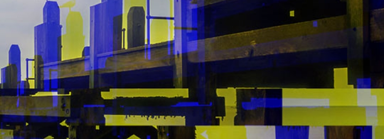 A stylised picture of a pier at sea with glitching colour and shapes