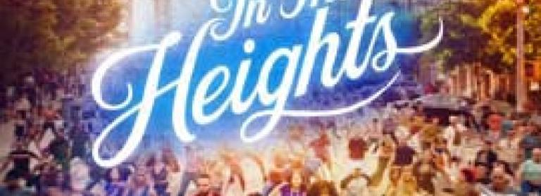 In the Heights movie poster with crowds of people dancing in the background