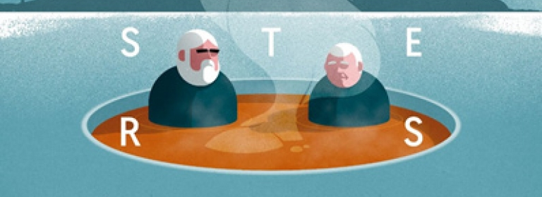 Illustration for Lobster Soup showing two old men in a bowl of soup