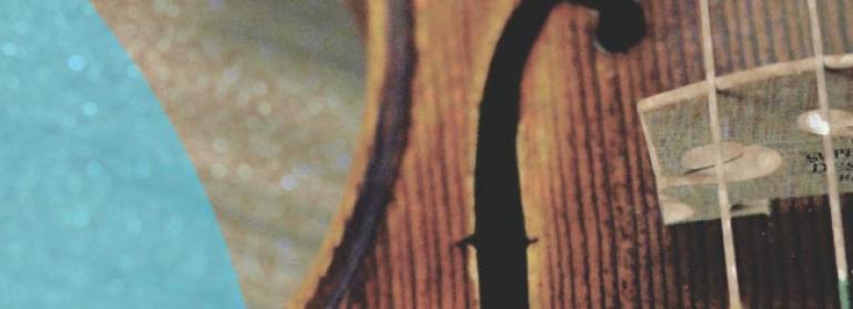 Image shows a close up of a violin