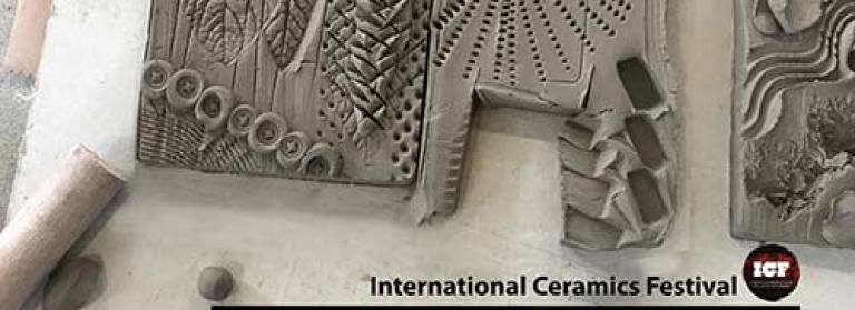 Image showing clay being decorated reading 'International Ceramics Festival - Free Ceramics Workshops for Adults and Children @ Canolfan y Celfyddydau Aberystwyth Arts Centre'