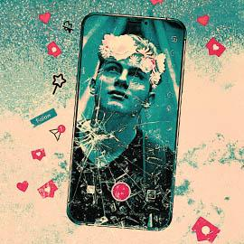 A blue and cream hued stylised image showing a cracked phone with a photo of a young man on the screen wearing a flower crown. There are small icons surrounding the phone image, such as social media 'like' and 'follow' buttons.