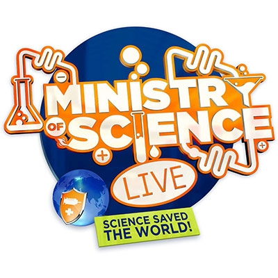 Ministry of Science Live logo with test-tubes and experiments