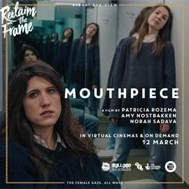 Two lead actors on a poster advertising film Mouthpiece.