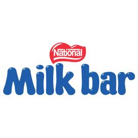 Blue rounded text reading 'Milk bar'