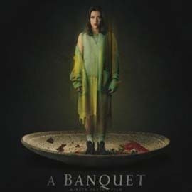 A girl stands on an empty bloody plate