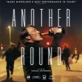 Movie Poster fo Another Round showing Mads Mikkelsen downing a bottle of beer