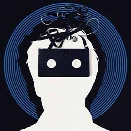 Silhouette of a man's head with a video tape cassette where his eyes would be