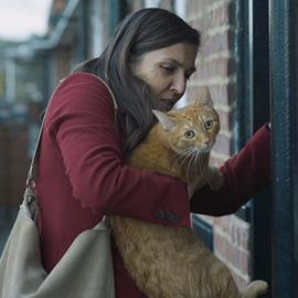 Woman holding cat.