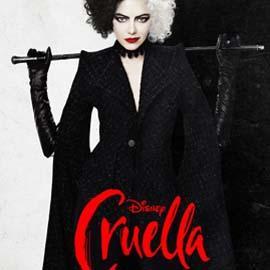 Emma Stone portrays Cruella in the movie poster