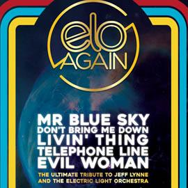 A colourful graphic featuring the ELO Again logo, which is gold coloured.