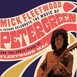70s style poster featuring Mick Fleetwood playing on guitar