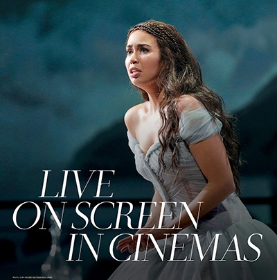 Nadine Sierra as Lucia di Lammermoor in the NY Met Opera. Text reads 'Live on Screen in Cinemas'