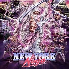 Illustrated collage fir New York Ninka - with ninjas and people fighting