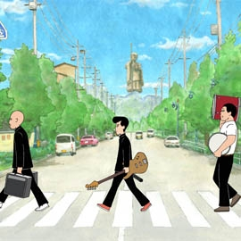 Still from Ongaku. Three young people recreate the Beatles Abbey Road cover but in Japan