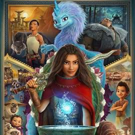 Movie Poster for Raya and the Last Dragon - Raya is surrounded by characters from the movie