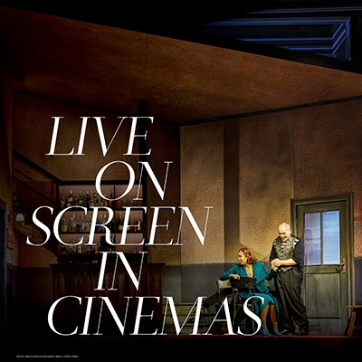 Scene from Met Opera Rigoletto. Text reads 'Live on Screen in Cinemas'