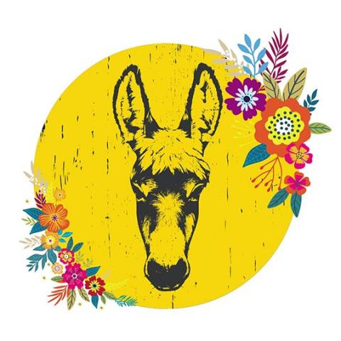 Colourful image for Gwlad yr Asyn showing a drawing of a donkey with flowers around its head