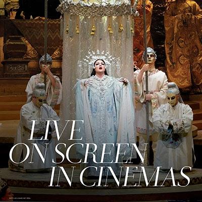 Anna Netrebko in the Met Opera Turandot. Text reads 'Live on Screen in Cinemas'