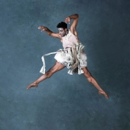 A ballet dancer jumpes in midair - press photo for Giselle by Ballet Cymru, photography by Sian Trenberth