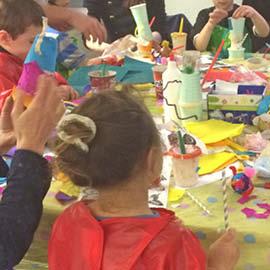 Children doing craft activities