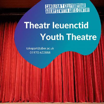 Red stage curtain. Text reads 'Theatr Ieuenctid - Youth Theatre'