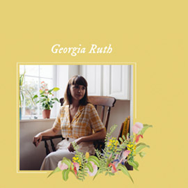 An image of Georgia, sitting in a chair by a window, on a light yellow background and with a decorative flower graphic.
