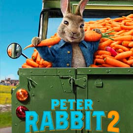 Movie Poster for Peter Rabbit 2 showing the animated Peter Rabbit in a truck full of carrots