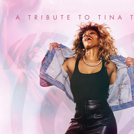 A stylised image of a woman, playing the part of Tina Turner, head thrown back and denim jacket held open reveal an all-black outfit.