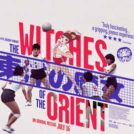 Poster with text Witches of the Orient, featuring Japanese vollyball players around it