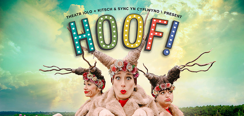 A photo showing three people dressed as theatrical deers, with the title HOOF! in colourful capital letters placed above them.